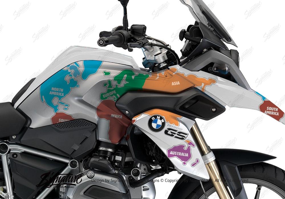 BMW R1200GS LC Alpine White The Globe Stickers Kit