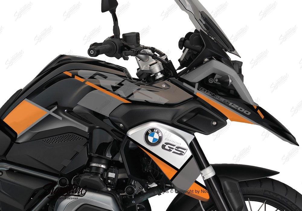 Sticker Design For Motorcycle >> BMW R1200GS LC Triple Black Vector Orange Grey Stickers Kit   Signature Custom Designs