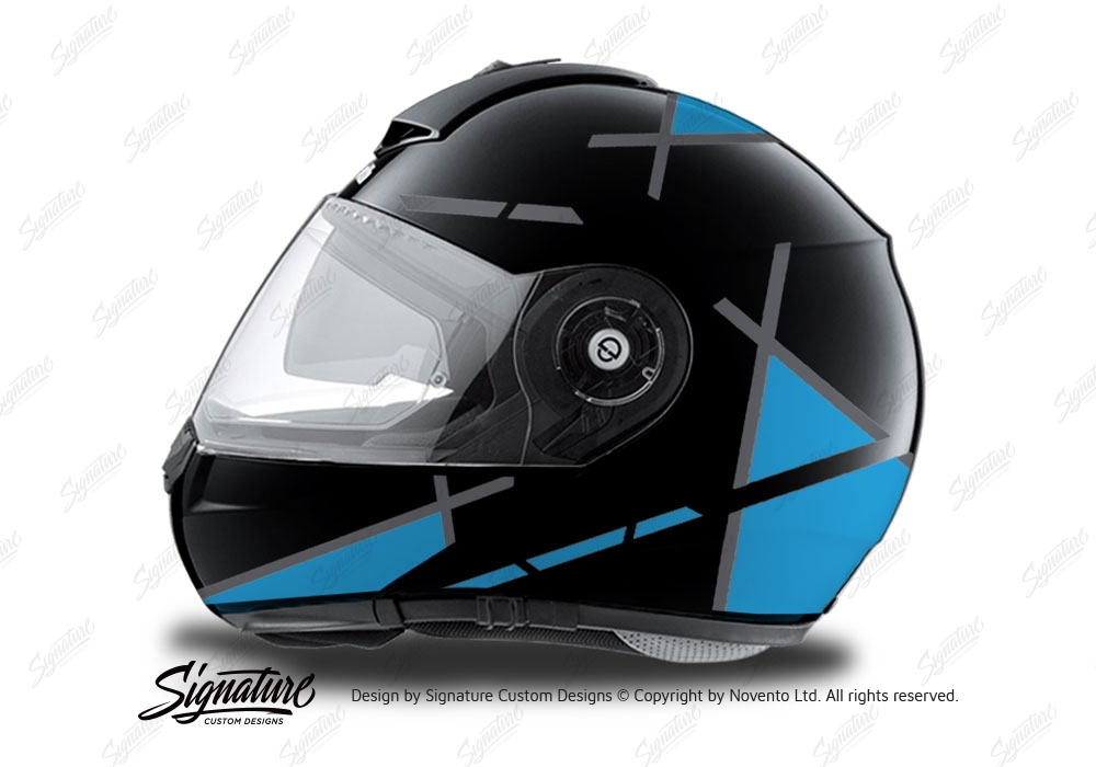 Schuberth c3 pro helmet adv vivo series red & blue stickers kit.