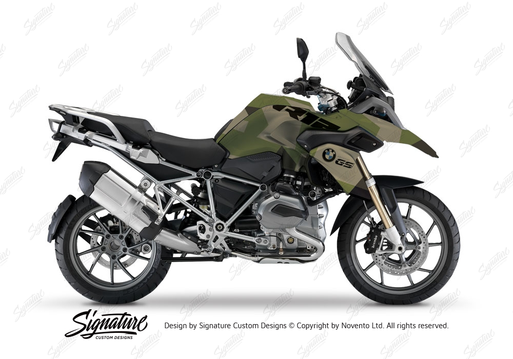 Bmw R1200gs Lc M90 Green Camo Stickers Kit Signature