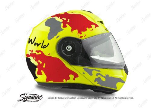 HEL 2100 Schuberth C3 Pro Yellow The World Black Red 02