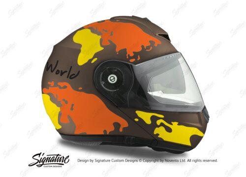 HEL 2110 Schuberth C3 Pro Metal Matte The World Yellow Orange 02