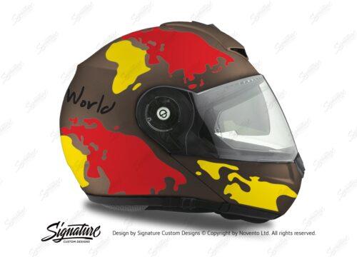 HEL 2111 Schuberth C3 Pro Metal Matte The World Yellow Red 02