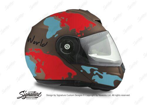 HEL 2112 Schuberth C3 Pro Metal Matte The World Light Blue Red 02