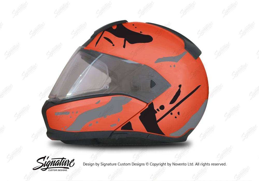 BMW System Helmet Orange Safari Grey Black Stickers Kit - Motorcycle helmet decals graphicsreflectivedecalscomour decal kit on the bmw systemhelmet