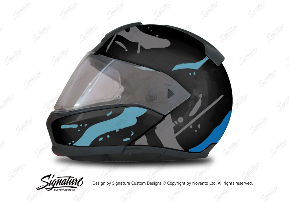BMW System Helmet Black Safari Blue Variations Stickers Kit - Motorcycle helmet decals graphicsreflectivedecalscomour decal kit on the bmw systemhelmet