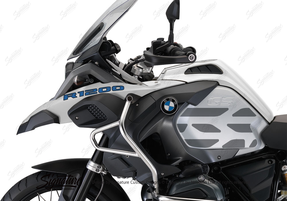 BMW RGS LC Adventure Alpine White Style Side Tank Stickers - Motorcycle helmet decals graphicsreflectivedecalscomour decal kit on the bmw systemhelmet