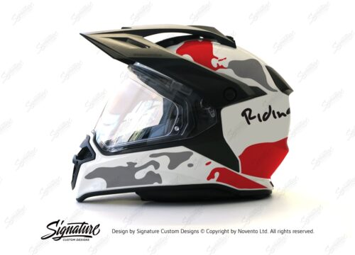 HEL 2634 BMW Enduro 2015 Helmet White The Globe Red Grey Stickers Kit 01 1