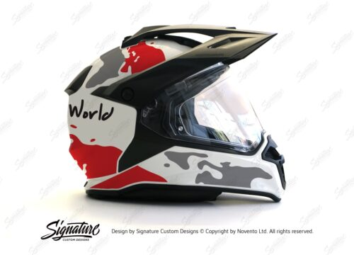 HEL 2634 BMW Enduro 2015 Helmet White The Globe Red Grey Stickers Kit 02 1