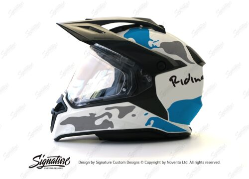 HEL 2635 BMW Enduro 2015 Helmet White The Globe Blue Grey Stickers Kit 01 1
