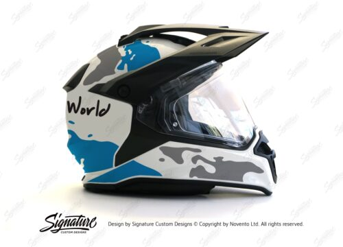 HEL 2635 BMW Enduro 2015 Helmet White The Globe Blue Grey Stickers Kit 02 1
