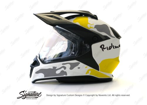 HEL 2636 BMW Enduro 2015 Helmet White The Globe Yellow Grey Stickers Kit 01 1