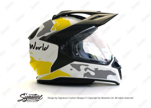 HEL 2636 BMW Enduro 2015 Helmet White The Globe Yellow Grey Stickers Kit 02 1