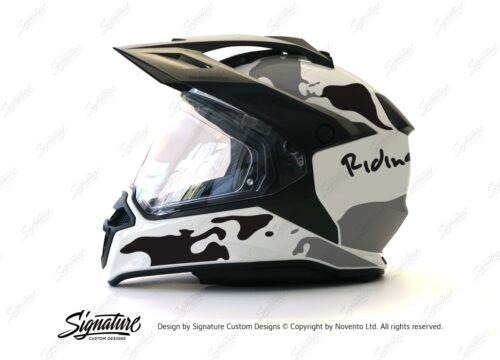 HEL 2637 BMW Enduro 2015 Helmet White The Globe Black Grey Stickers Kit 01 1