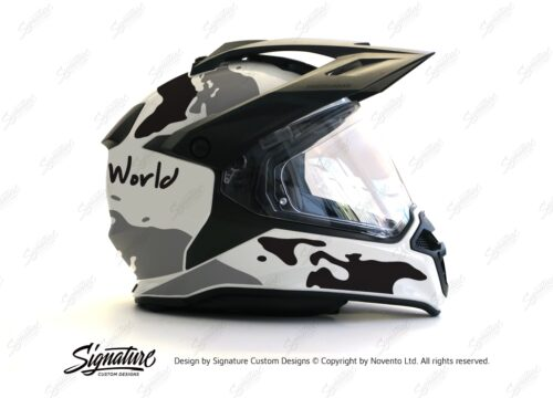 HEL 2637 BMW Enduro 2015 Helmet White The Globe Black Grey Stickers Kit 02 1