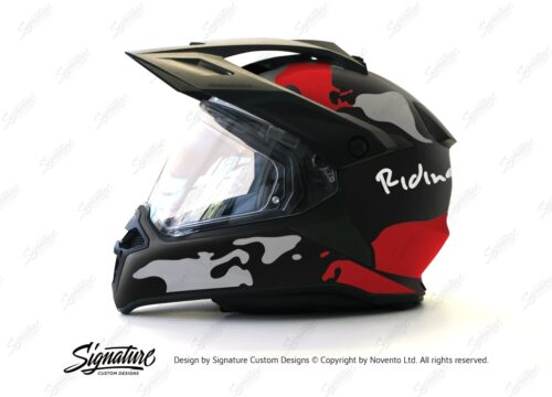 HEL 2787 BMW Enduro 2015 Helmet Black Matte The Globe Red Grey Stickers Kit 01 1