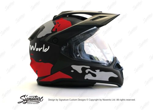 HEL 2787 BMW Enduro 2015 Helmet Black Matte The Globe Red Grey Stickers Kit 02 1