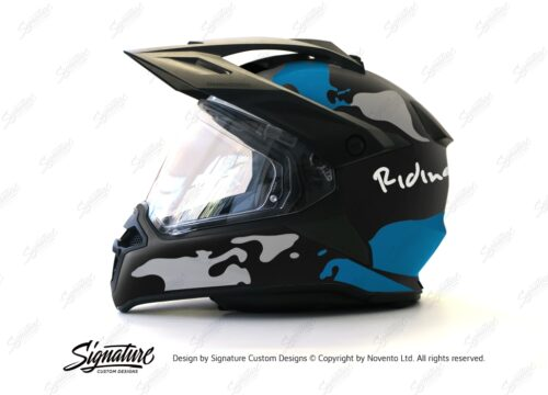 HEL 2788 BMW Enduro 2015 Helmet Black Matte The Globe Blue Grey Stickers Kit 01 1