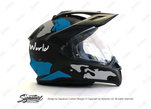 HEL 2788 BMW Enduro 2015 Helmet Black Matte The Globe Blue Grey Stickers Kit 02 1