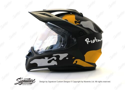 HEL 2789 BMW Enduro 2015 Helmet Black Matte The Globe Yellow Grey Stickers Kit 01 1