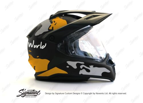 HEL 2789 BMW Enduro 2015 Helmet Black Matte The Globe Yellow Grey Stickers Kit 02 1