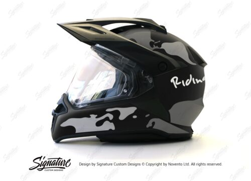 HEL 2790 BMW Enduro 2015 Helmet Black Matte The Globe Grey Variations Stickers Kit 01 1