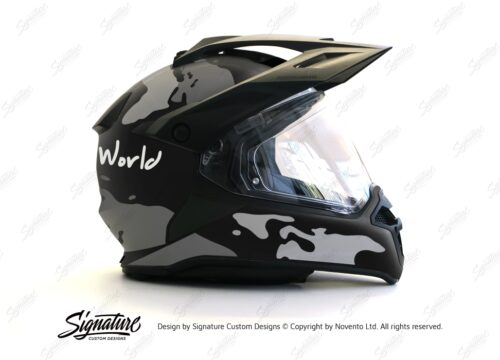 HEL 2790 BMW Enduro 2015 Helmet Black Matte The Globe Grey Variations Stickers Kit 02 1