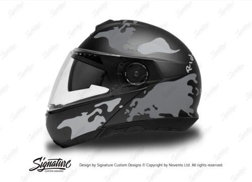 HEL 2872 Schuberth C4 Black Gloss Matte Helmet The Globe Series Grey Variations Stickers Kit 01 1