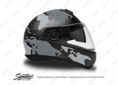 HEL 2872 Schuberth C4 Black Gloss Matte Helmet The Globe Series Grey Variations Stickers Kit 02 1