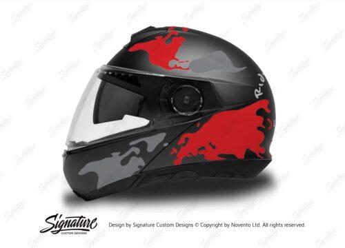 HEL 2873 Schuberth C4 Black Gloss Matte Helmet The Globe Series Red Grey Stickers Kit 01 1
