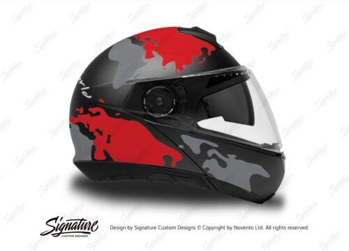 HEL 2873 Schuberth C4 Black Gloss Matte Helmet The Globe Series Red Grey Stickers Kit 02 1