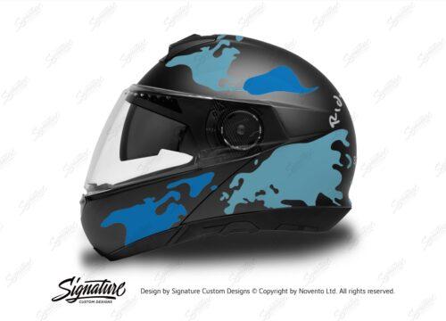 HEL 2874 Schuberth C4 Black Gloss Matte Helmet The Globe Series Blue Variations Stickers Kit 01 1
