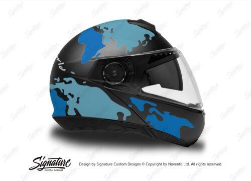 HEL 2874 Schuberth C4 Black Gloss Matte Helmet The Globe Series Blue Variations Stickers Kit 02 1