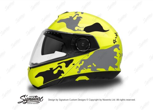 HEL 2877 Schuberth C4 Fluo Yellow Helmet The Globe Series Black Grey Stickers Kit 01 1