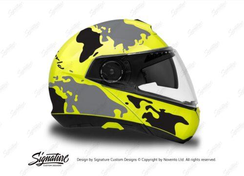 HEL 2877 Schuberth C4 Fluo Yellow Helmet The Globe Series Black Grey Stickers Kit 02 1