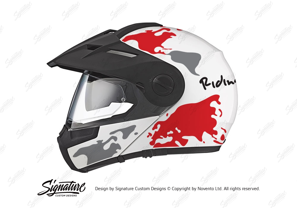 HEL 2992 Schuberth E1 White The Globe Series Red Grey Stickers Kit 01 1