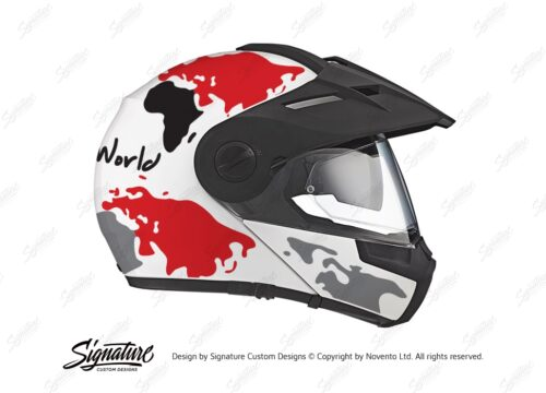 HEL 2992 Schuberth E1 White The Globe Series Red Grey Stickers Kit 02 1