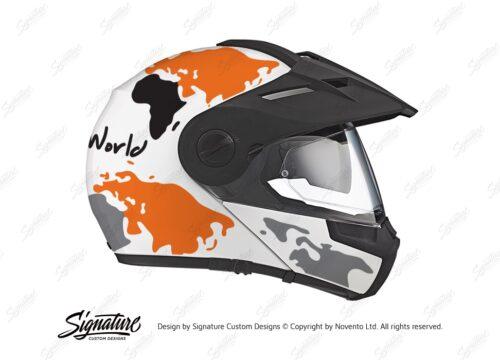 HEL 2994 Schuberth E1 White The Globe Series Orange Grey Stickers Kit 02 1