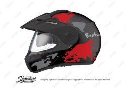 HEL 2997 Schuberth E1 Black The Globe Series Red Grey Stickers Kit 01 1