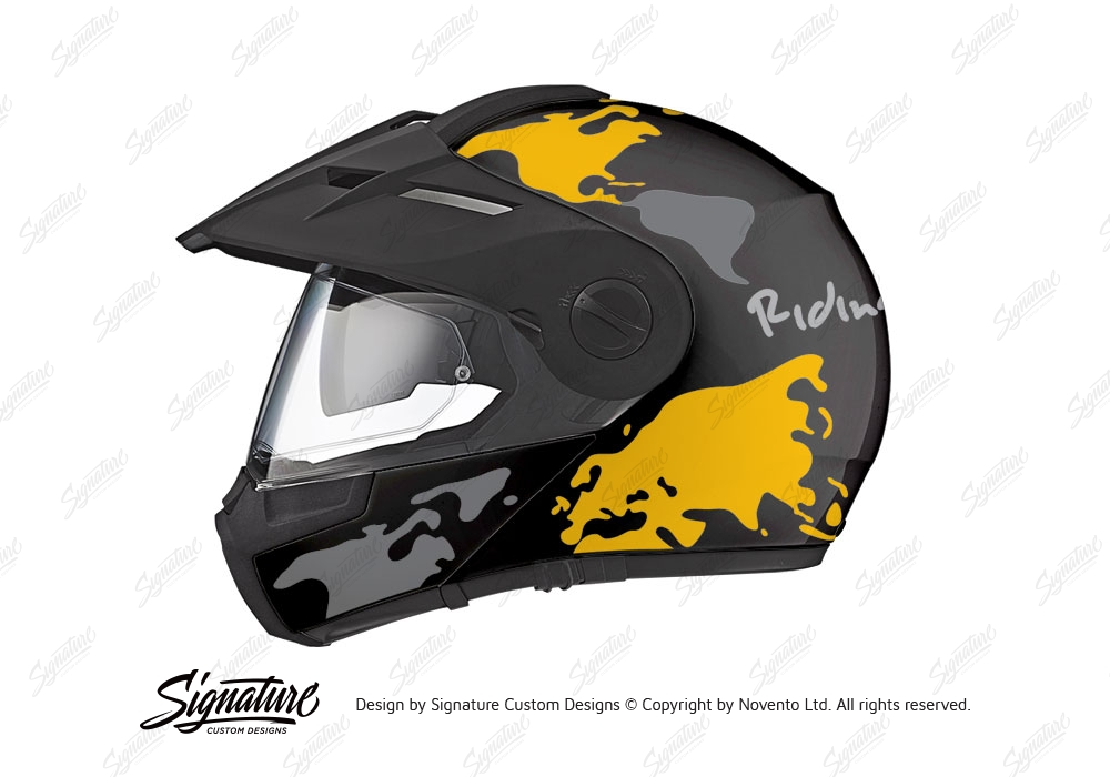 Schuberth E1 Helmet Black The Globe Series Silver Yellow Stickers Kit
