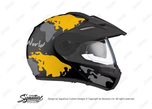 HEL 2998 Schuberth E1 Black The Globe Series Yellow Grey Stickers Kit 02 1