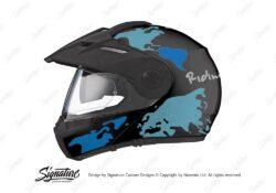 HEL 2999 Schuberth E1 Black The Globe Series Blue Variations Stickers Kit 01 1