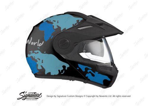 HEL 2999 Schuberth E1 Black The Globe Series Blue Variations Stickers Kit 02 1
