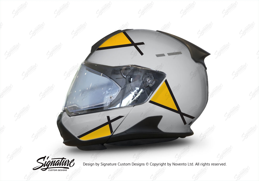 bmw system 7 helmet (silver) vector series yellow & black stickers