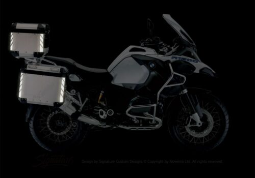BSTI 3068 BMW R1200GS LC Adventure Alluminium Top Box Black White Reflective Stripes Stickers Kit 02