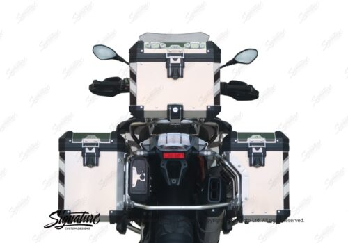 BSTI 3068 BMW R1200GS LC Adventure Alluminium Top Box Black White Reflective Stripes Stickers Kit 05