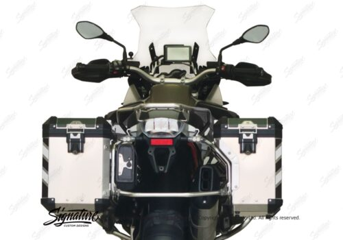 BSTI 3068 BMW R1200GS LC Adventure Alluminium Top Box Black White Reflective Stripes Stickers Kit 06