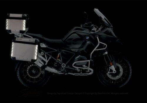 BSTI 3069 BMW R1200GS LC Adventure Alluminium Top Box Black Reflective Stripes Stickers Kit 02