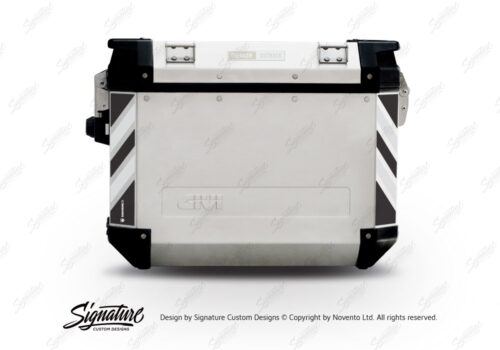 GISTI 3070 Givi Trekker Outback Side Panniers 48lt 37lt Black White Reflective Stripes Stickers Kit 01