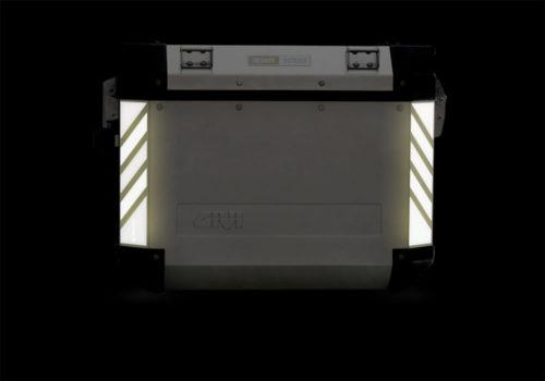 GISTI 3070 Givi Trekker Outback Side Panniers 48lt 37lt Black White Reflective Stripes Stickers Kit 02